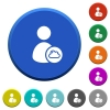 Cloud user account management beveled buttons - Cloud user account management round color beveled buttons with smooth surfaces and flat white icons