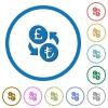 Pound Lira money exchange icons with shadows and outlines - Pound Lira money exchange flat color vector icons with shadows in round outlines on white background