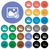 Image rotate left round flat multi colored icons - Image rotate left multi colored flat icons on round backgrounds. Included white, light and dark icon variations for hover and active status effects, and bonus shades on black backgounds.