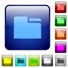 Tab folder icons in rounded square color glossy button set - Tab folder color square buttons