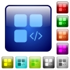 Component programming color square buttons - Component programming icons in rounded square color glossy button set