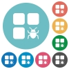 Component bug flat round icons - Component bug flat white icons on round color backgrounds
