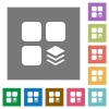 Multiple components square flat icons - Multiple components flat icons on simple color square backgrounds