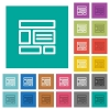 Web layout square flat multi colored icons - Web layout multi colored flat icons on plain square backgrounds. Included white and darker icon variations for hover or active effects.