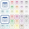 Spreadsheet horizontally merge table cells outlined flat color icons - Spreadsheet horizontally merge table cells color flat icons in rounded square frames. Thin and thick versions included.