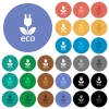 Eco energy multi colored flat icons on round backgrounds. Included white, light and dark icon variations for hover and active status effects, and bonus shades on black backgounds. - Eco energy round flat multi colored icons