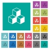 Cubes square flat multi colored icons - Cubes multi colored flat icons on plain square backgrounds. Included white and darker icon variations for hover or active effects.
