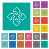 Puzzle pieces square flat multi colored icons - Puzzle pieces multi colored flat icons on plain square backgrounds. Included white and darker icon variations for hover or active effects.