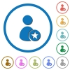 Rank user icons with shadows and outlines - Rank user flat color vector icons with shadows in round outlines on white background