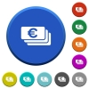 Euro banknotes beveled buttons - Euro banknotes round color beveled buttons with smooth surfaces and flat white icons