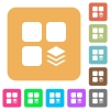 Multiple components rounded square flat icons - Multiple components flat icons on rounded square vivid color backgrounds.