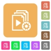 Playlist settings rounded square flat icons - Playlist settings flat icons on rounded square vivid color backgrounds.