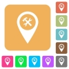 Workshop service GPS map location rounded square flat icons - Workshop service GPS map location flat icons on rounded square vivid color backgrounds.