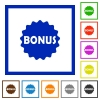 Bonus sticker flat framed icons - Bonus sticker flat color icons in square frames on white background