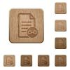 Document attachment wooden buttons - Document attachment on rounded square carved wooden button styles