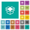 Open box square flat multi colored icons - Open box multi colored flat icons on plain square backgrounds. Included white and darker icon variations for hover or active effects.