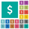 Dollar sign square flat multi colored icons - Dollar sign multi colored flat icons on plain square backgrounds. Included white and darker icon variations for hover or active effects.