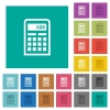 Calculator icons square flat multi colored icons - Calculator icons multi colored flat icons on plain square backgrounds. Included white and darker icon variations for hover or active effects.