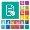 Source code document square flat multi colored icons - Source code document multi colored flat icons on plain square backgrounds. Included white and darker icon variations for hover or active effects.