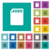 SD memory card square flat multi colored icons - SD memory card multi colored flat icons on plain square backgrounds. Included white and darker icon variations for hover or active effects.
