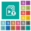 Upload playlist square flat multi colored icons - Upload playlist multi colored flat icons on plain square backgrounds. Included white and darker icon variations for hover or active effects.