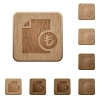 Turkish Lira financial report wooden buttons - Turkish Lira financial report on rounded square carved wooden button styles