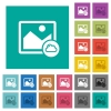 Cloud image square flat multi colored icons - Cloud image multi colored flat icons on plain square backgrounds. Included white and darker icon variations for hover or active effects.