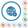 Online Yen payment icons with shadows and outlines - Online Yen payment flat color vector icons with shadows in round outlines on white background