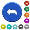 Reply to mail beveled buttons - Reply to mail round color beveled buttons with smooth surfaces and flat white icons