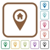 Home address GPS map location simple icons - Home address GPS map location simple icons in color rounded square frames on white background
