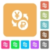 Yen Ruble money exchange rounded square flat icons - Yen Ruble money exchange flat icons on rounded square vivid color backgrounds.