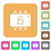 Hardware unlocked rounded square flat icons - Hardware unlocked flat icons on rounded square vivid color backgrounds.