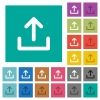 Upload symbol square flat multi colored icons - Upload symbol multi colored flat icons on plain square backgrounds. Included white and darker icon variations for hover or active effects.