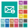 Mail information square flat multi colored icons - Mail information multi colored flat icons on plain square backgrounds. Included white and darker icon variations for hover or active effects.