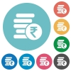Indian Rupee coins flat round icons - Indian Rupee coins flat white icons on round color backgrounds