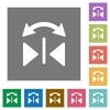 Horizontal flip square flat icons - Horizontal flip flat icons on simple color square backgrounds