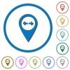 GPS map location distance flat color vector icons with shadows in round outlines on white background - GPS map location distance icons with shadows and outlines