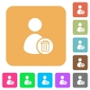 Delete user account rounded square flat icons - Delete user account flat icons on rounded square vivid color backgrounds.