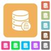 Unlock database rounded square flat icons - Unlock database flat icons on rounded square vivid color backgrounds.