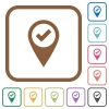 GPS map location ok simple icons - GPS map location ok simple icons in color rounded square frames on white background