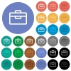 Toolbox round flat multi colored icons - Toolbox multi colored flat icons on round backgrounds. Included white, light and dark icon variations for hover and active status effects, and bonus shades on black backgounds.