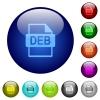 DEB file format color glass buttons - DEB file format icons on round color glass buttons