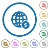 Online Dollar payment icons with shadows and outlines - Online Dollar payment flat color vector icons with shadows in round outlines on white background