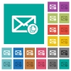 Copy mail square flat multi colored icons - Copy mail multi colored flat icons on plain square backgrounds. Included white and darker icon variations for hover or active effects.