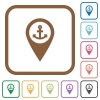 Sea port GPS map location simple icons - Sea port GPS map location simple icons in color rounded square frames on white background