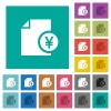 Yen financial report square flat multi colored icons - Yen financial report multi colored flat icons on plain square backgrounds. Included white and darker icon variations for hover or active effects.