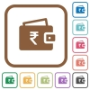 Indian Rupee wallet simple icons - Indian Rupee wallet simple icons in color rounded square frames on white background