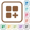 Add new component simple icons - Add new component simple icons in color rounded square frames on white background