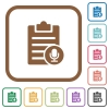 Voice note simple icons - Voice note simple icons in color rounded square frames on white background