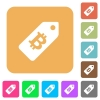 Bitcoin price label rounded square flat icons - Bitcoin price label flat icons on rounded square vivid color backgrounds.
